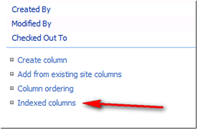 Indexed Columns