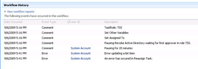 workflow error updating a list item