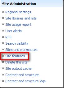 SelectSiteFeatures