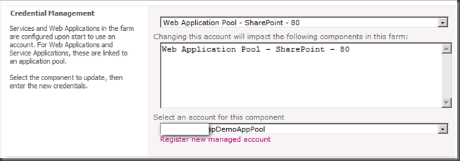 Error updating the administration application pool credentials